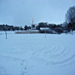 Labyrinth path in snow. Voorburg 2013